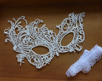 Beautiful Queen Lace Mask, White Wedding Mask, Masquerade Ball Mask, Halloween Mask