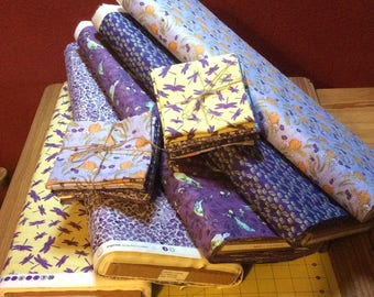 fat Quarter Bundle, quilt fabric bundle, mice fabric, bird fabric, butterfly fabric, dragonfly fabric,  quilting fabric,  fat quarter