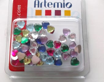 Set of 50 RHINESTONE EMBELLISHMENTS to be stuck - REF.11006058 multicolor hearts