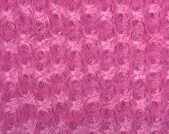 Pink minky rose fabric hot pink