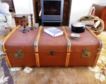 Vintage Bentwood Steamer Trunk - 1950s Steamer Trunk Luggage Coffee Table