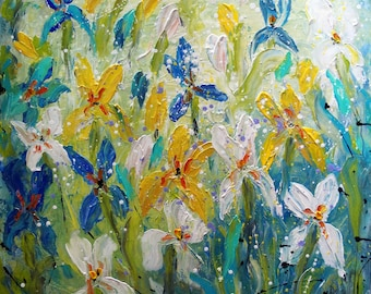 IRIS FLOWERS Original Large Painting 36x36 Abstract White Blue Green Aqua Turquoise Floral Ready to Ship