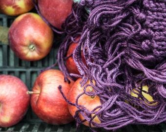 Burgundy plum scarf  / JeanPaul //  handknit / fog  lilac  silk  bamboo  multicolor