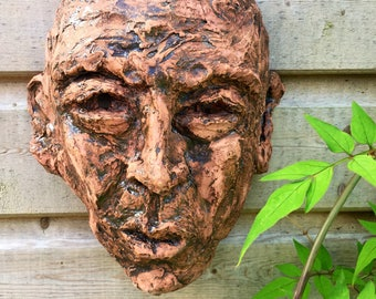 Mask 1 - Ceramic wall art, face - wall sculpture - garden gift