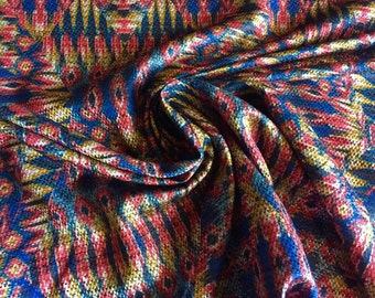 """Multi-Color Printed Tweed, made in France, with iridescent Red lurex finish, an incredible look and texture, price is per yard, 54"""" wide"""