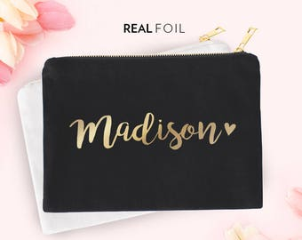Real Foil Pouch with Name | Carry All | Pouch | Cosmetics Pouch | Makeup Bag | Zipper Pouch | Gold Foil | Silver Foil | Personalized Name