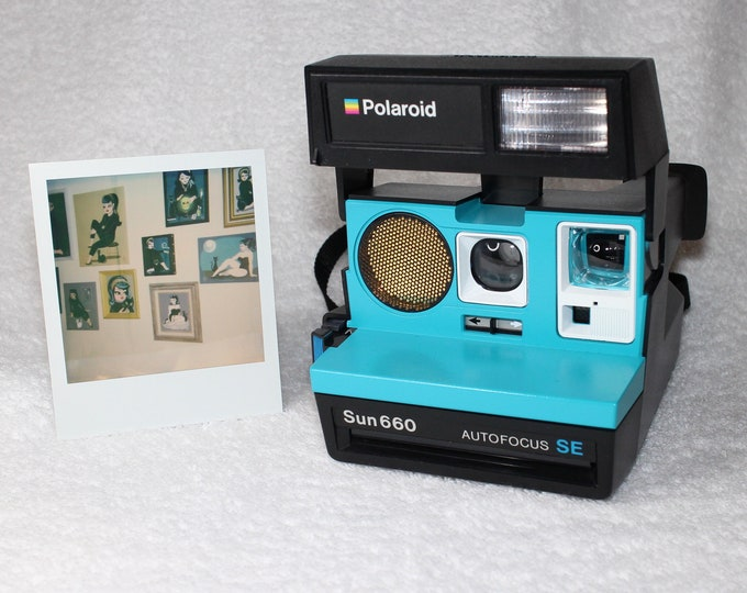 Polaroid 660 AutoFucus SE Upcycled Turquoise and White - Cleaned, Tested and Ready for Fun