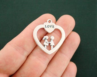 2 Couple Charms Antique Silver Tone 2 Sided Heart - SC6916