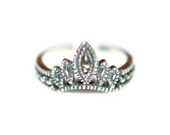 Marcasite Sterling Silver Crown Toe Ring - Sterling Silver Marcasite Princess Toe Ring