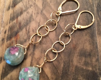 Gold Filled Long Earrings with Ruby in Zoisite Stone