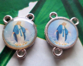 1 Center rosaries miraculous Virgin Double sided 17 X 13 mm, hole 2 mm links