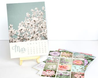 2018 Desk Calendar - Gift for Her - Floral Photography Calendar - With or Without Easel - 5x7 Flower Photo Calendar - Home Office Decor