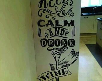 sticker keep calm drink wine st06