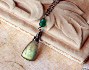 Labradorite Necklace with Green Quartz on Oxidized Sterling Silver - Woodleaf by CircesHouse on Etsy