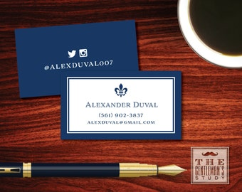 Colonial calling cards mens personal business cards fleur de lis calling cards masculine personal business cards french theme contact cards for colourmoves