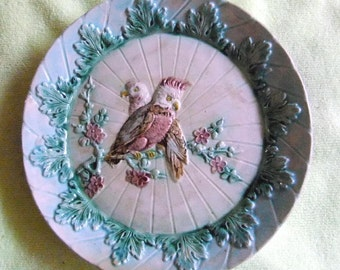 "Vintage Majolica Parrots on a Branch Collectible Plate 8.5"" - 2 Parrots on a Branch. mag 15"