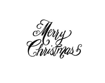 CLEARANCE Merry Christmas calligraphy rubber stamp small