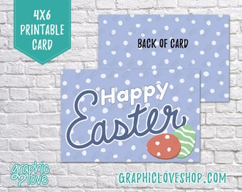 Printable 4x6 Purple Happy Easter Card - Folded & Postcard   High Res Digital JPG File, Instant Download, NOT Editable, Ready to Print