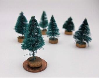 6 Vintage Miniature Sisal Christmas Trees,Darice Holiday Trimmings,Miniature Bottle Brush Trees, Dollhouse, Diorama, Terrarium, Fairy Garden