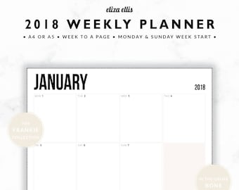 2018 WEEKLY PLANNER / A4 Weekly Planner / A5 Weekly Planner / Landscape Planner / Printable Planner / The Frankie Planners in Bone / 407