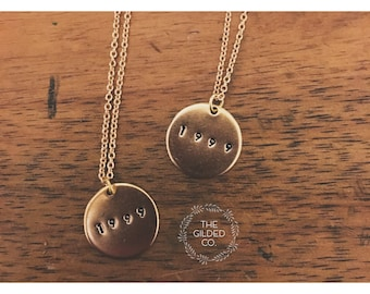 GOLD Word Disc Necklace — custom monogram name metal hand stamped gold personalized / upper case + lower case options - nashville mom gift