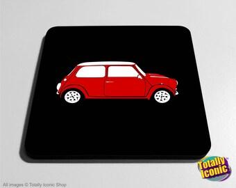Classic Red Mini Drinks Coaster Mat - Classic Mini - Mini Cooper - Austin Mini Car