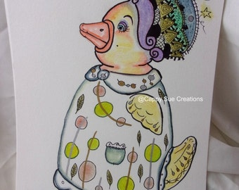 Surreal Chicken Woman with the fancy dress fine original but not finger licking good art