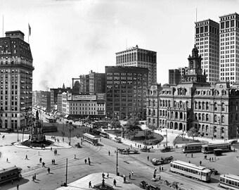 1910 - Detroit Campus Martius in panoramic