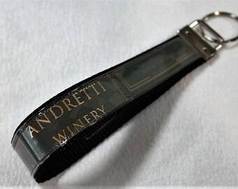 Bracelet porte clé de recyclé Andretti Winery vin étiquette