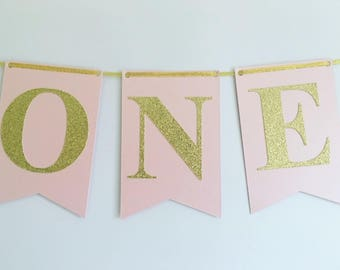 Pink And Gold 1st Birthday Decor Pink And Gold Highchair Banner One Bunting 1st Birthday Party Decorations Highchair Bunting Baby Girl 1st
