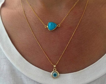 Greek Evil Eye Necklace, Turquoise Necklace, Gold Evil Eye Necklace, Turquoise Stone Necklace, Evil Eye Pendant, Turquoise Pendant.