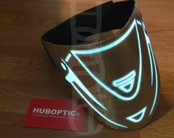 Ninja Mask Gold LED Mask Robot mask Cyborg Costume- Light Up Mask - DJ Mask Rave Mask Cosplay Dancer Face mask