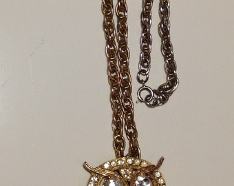 Rhinestone Articulated Owl Pendant ~ Gold Tone Rhinestone ~ Owl Necklace