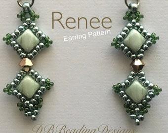 Renee Beaded Earrings Pattern, pdf, Beaded Earrings Tutorial