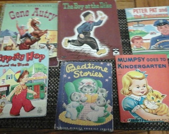 6 vintage Childrens books Gene Autry/ Boy at the DIke/ Mumpsy goes to Kindergarten/ Hippety Hop
