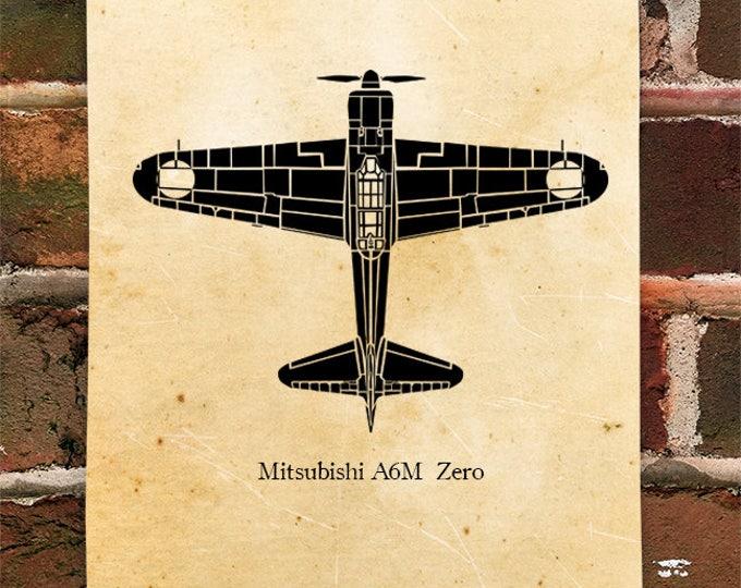 KillerBeeMoto: Limited Print Mitsubishi A6M Japanese Zero Aircraft Print 1 of 50