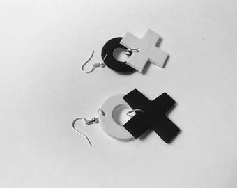 Black and White Naughts and Crosses dangle earrings.
