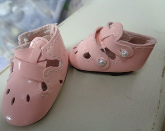 Teeny Tiny Pink  Doll Shoes  Vintage Doll Shoes-Size 8