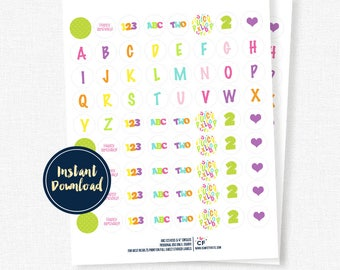 """Alphabet Birthday, ABC123 Party 3/4"""" Circles - Candy Labels, Kiss Stickers - Printable INSTANT DOWNLOAD"""