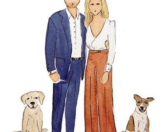Couple Illustration   Custom Portrait   Portrait   Watercolor   Hand Painted