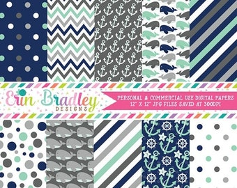 80% OFF SALE Nautical Boys Digital Papers Pack Anchors Whales Polka Dots Stripes Chevron Aqua Blue & Gray Printable Digital Scrapbook