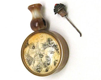 Vintage Snuff Bottle, Etched Ox Bone, Ox Horn, Koi Fish, Scent Jar, Perfume, Spoon, Red Sea Coral Jeweled Stopper, c1930
