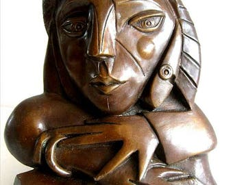 Sculpture Figure Bronzesculpture Woman at the Window after Picasso Handmade Limited Edition