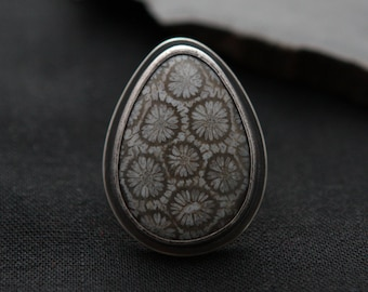 Fossilized Coral Ring - Size 7.5
