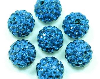 4pc 10mm Rhinestone Crystal Clay Pave Disco Beads- AAA QUALITY-1891