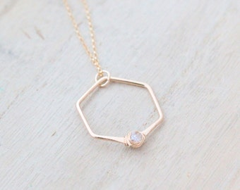 Herkimer Diamond Necklace , Gold Crystal Hexagon Pendant , Rose Gold , Sterling Silver  - Refraction (As Seen on Law & Order SVU)
