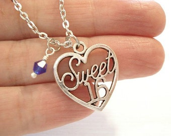 Sweet 16 Necklace Heart Pendant Personalized Necklace Birthstone Birthday Necklace Little Girl Necklace Silver Sweet 16 Gift