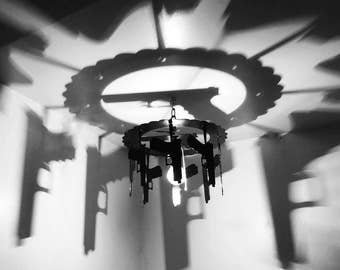 Motorcycle shadow light chandelier decor piston harley gun hanging gun light chandelier home and living home decor gift aloadofball Images