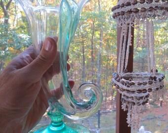 Art glass vase green base trumpet vase flowers