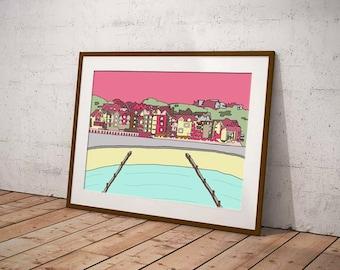 Poster print of Dorset coast, seaside decor in pink, seaside wall art in blue, coastal art print for hallway, gift for beach lover, boscombe